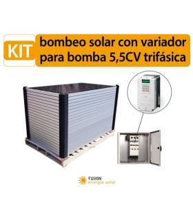 Kit bombeo solar con variador para bomba 5.5CV trifásica