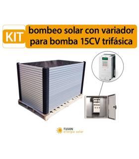 Kit bombeo solar con variador para bomba 15CV trifásica