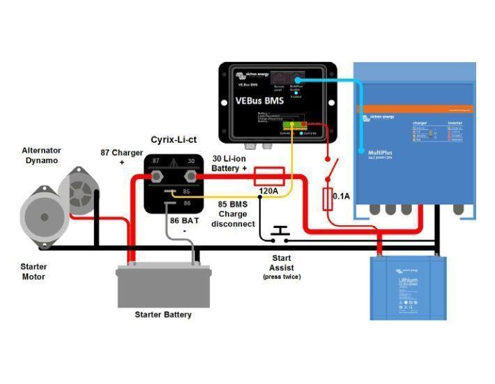 Esquema instalació combinador de baterías Victron Cyrix-Li-Ct 120
