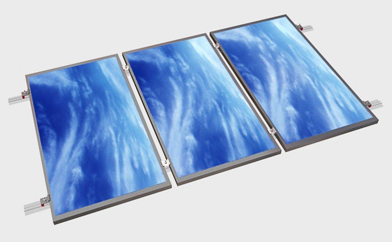 Estructura alu coplanar WÜRTH con salvatejas para 3 placas en tejado