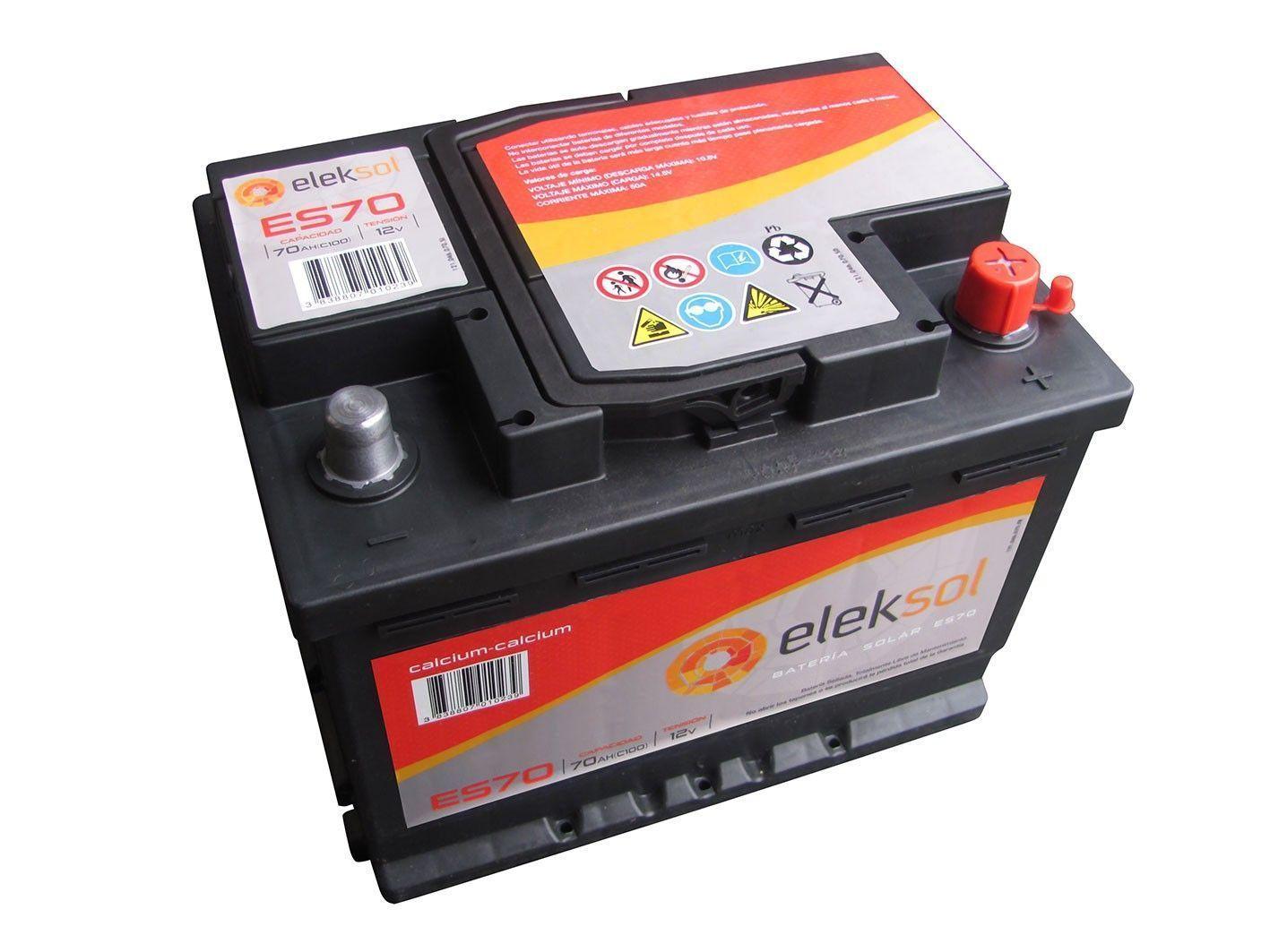 Batería solar ELEKSOL ES70 (Sin mantenimiento) 12V - 70Ah /C100