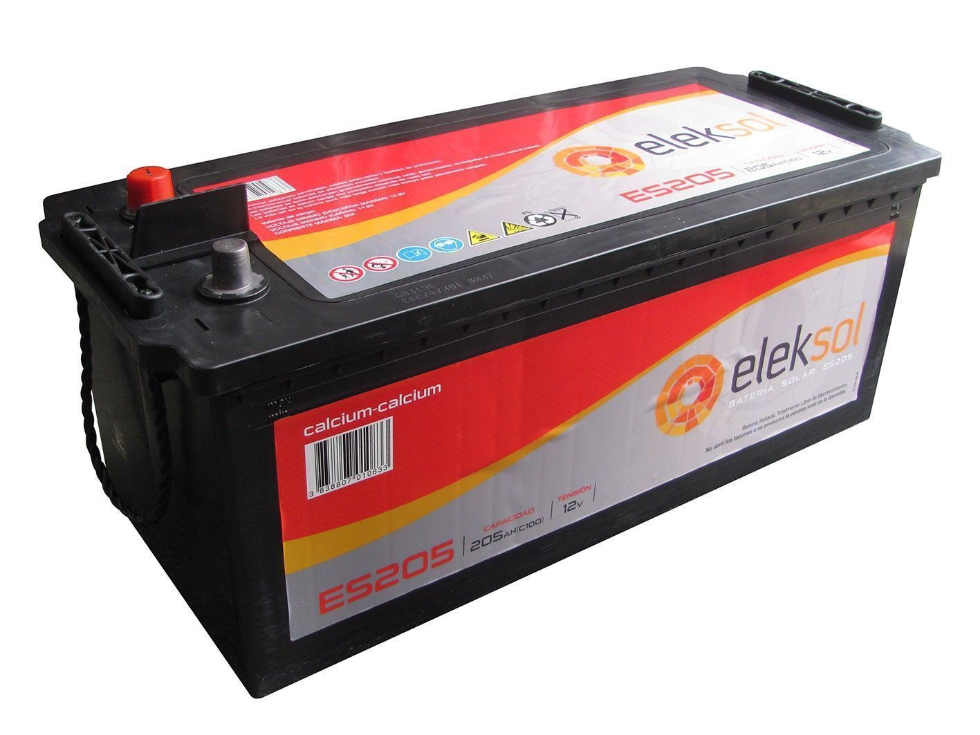 Batería solar ELEKSOL ES205 (Sin mantenimiento) 12V - 205Ah /C100